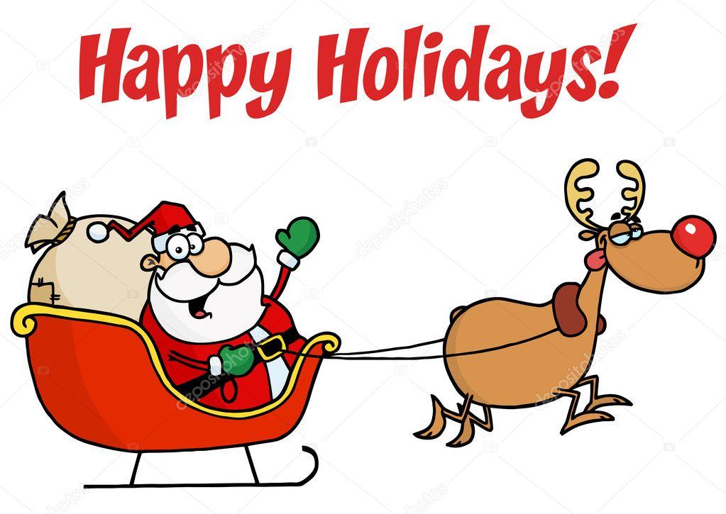felices fiestas saludo con un trineo con Santa Claus y rudolph ...