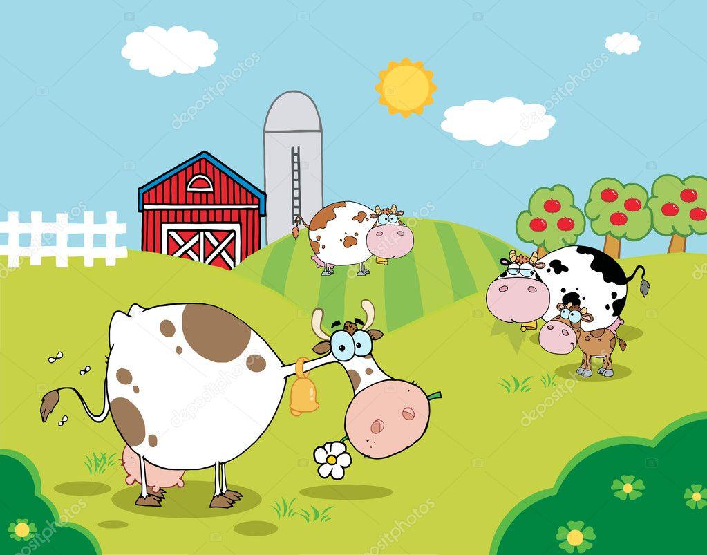 Pasto De Pastoreo De Vacas Lecheras Cerca De Un Establo Y
