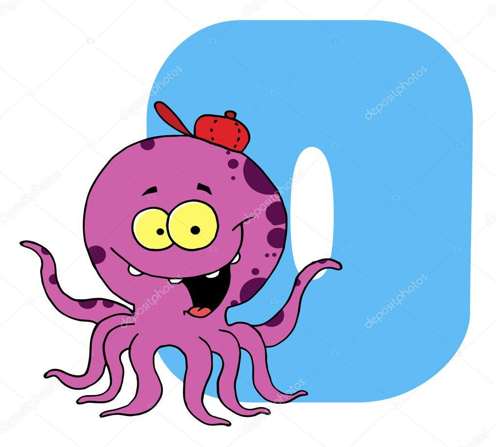 Clip Art For Letter O Octopus - Clipart Vector Design •