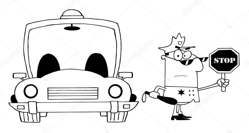 Seviyelendirilmiş Trafik Polis Memuru Araba Ile Stok Foto
