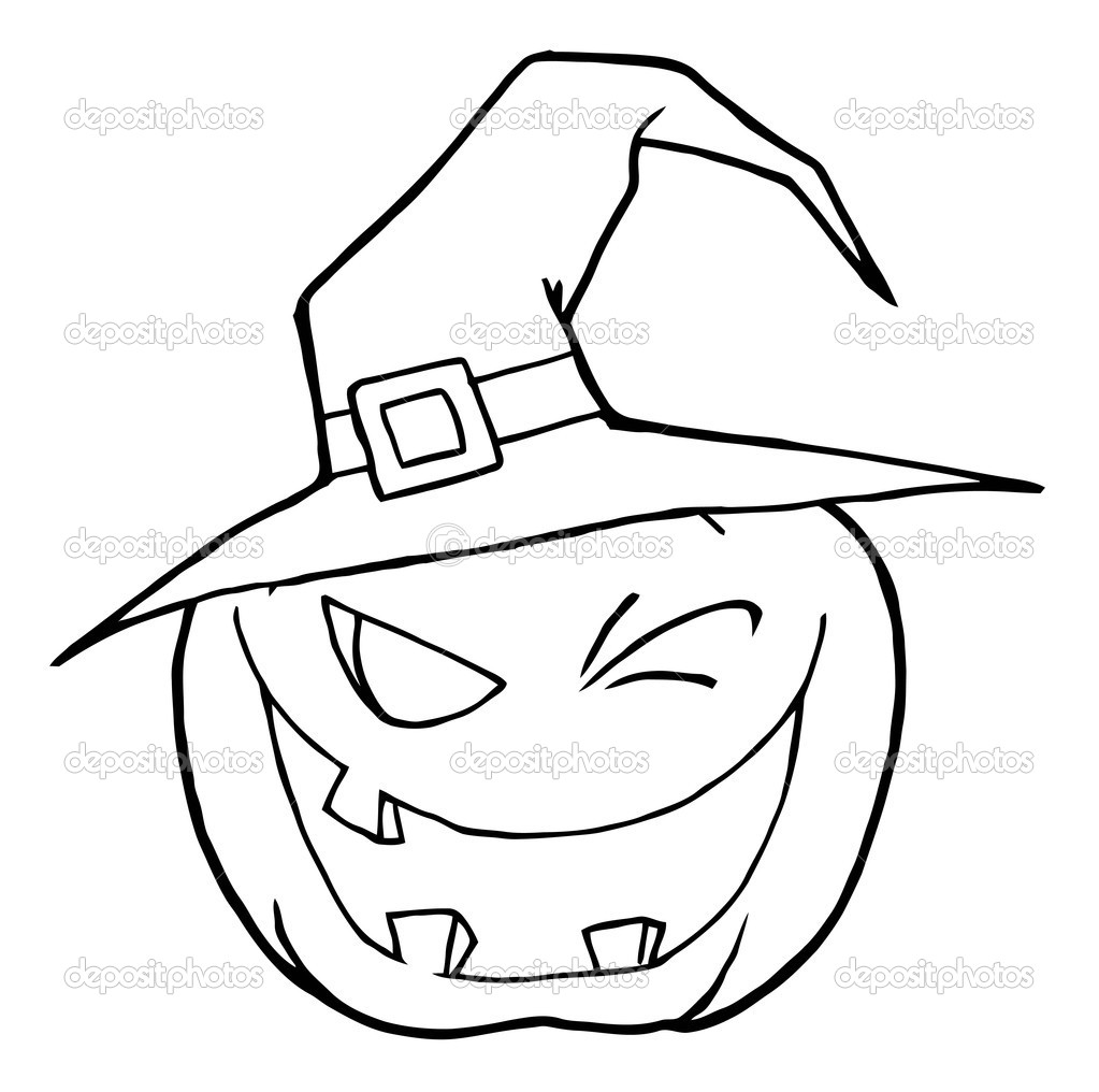 jack o lantern wearing a witch hat winking u2014 stock photo hittoon