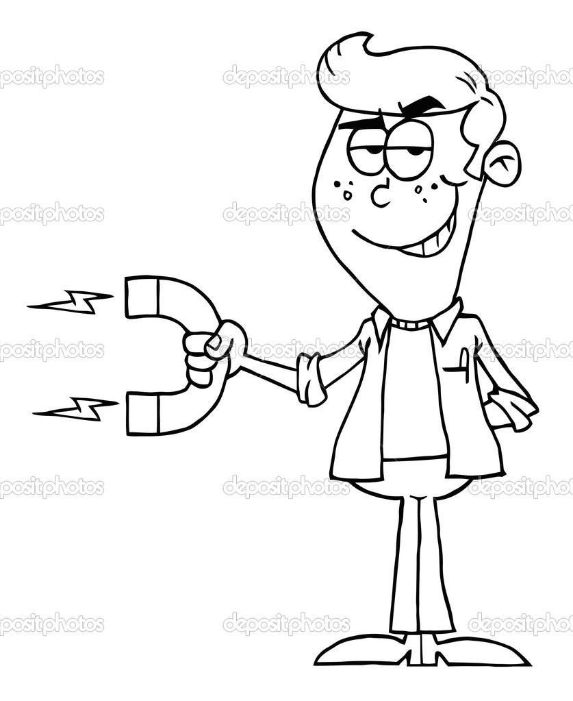 coloring page outline of a young man holding a strong magnet photo by hittoon