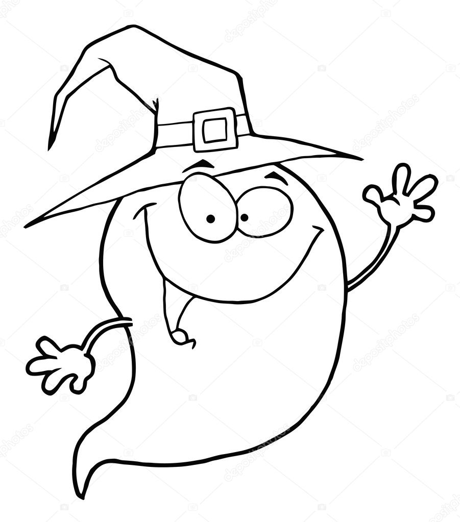 Outlined Happy Halloween Ghost Flying — Stock Photo © HitToon #4726743