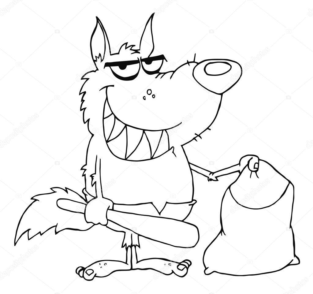 Delineato il sacchetto e sorrise licantropo azienda club - Contorno immagine di pipistrello ...