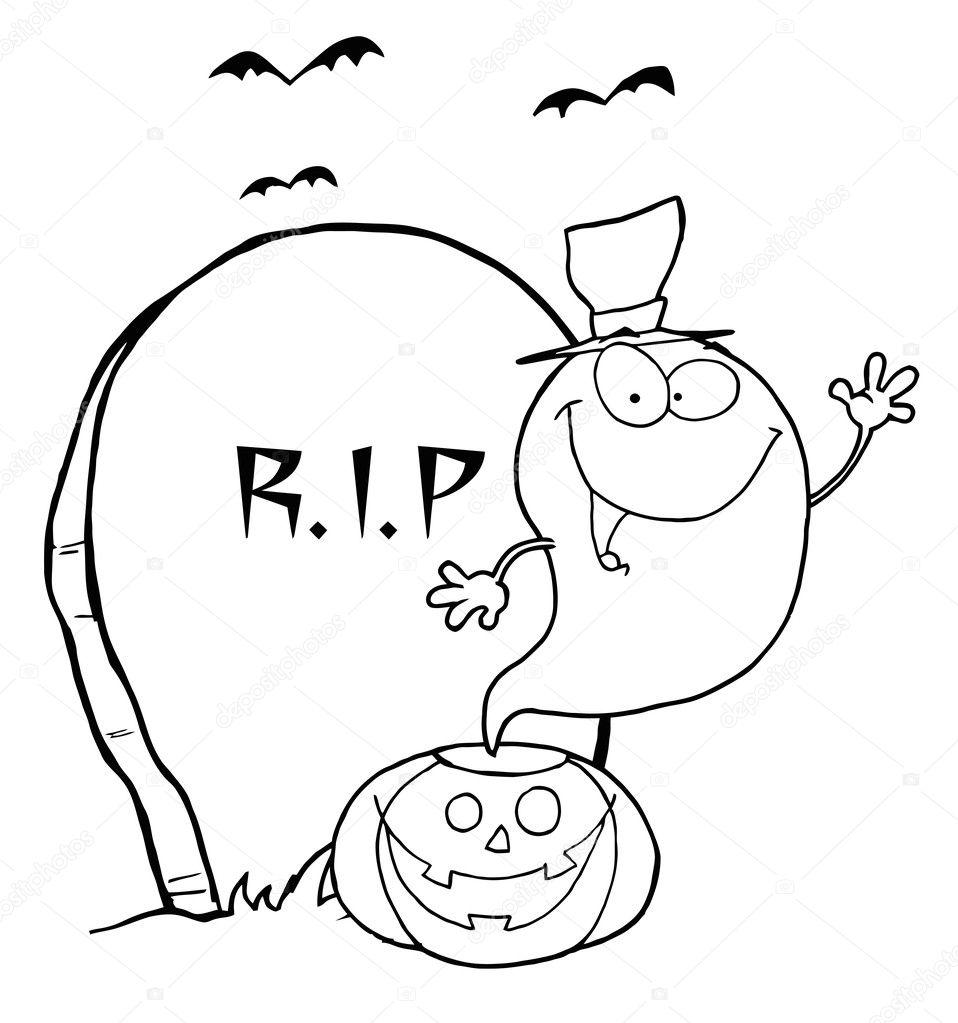 Mezar Taşı Ve Yarasalar Kabak Dan Sallayarak Anahatlı Hayalet Stok