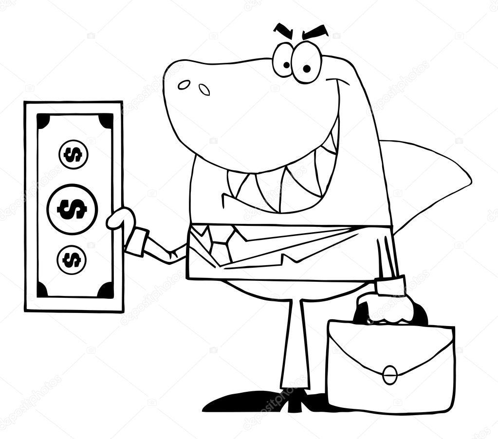 contorneado tiburón sonrió negocios con dinero en efectivo — Fotos ...