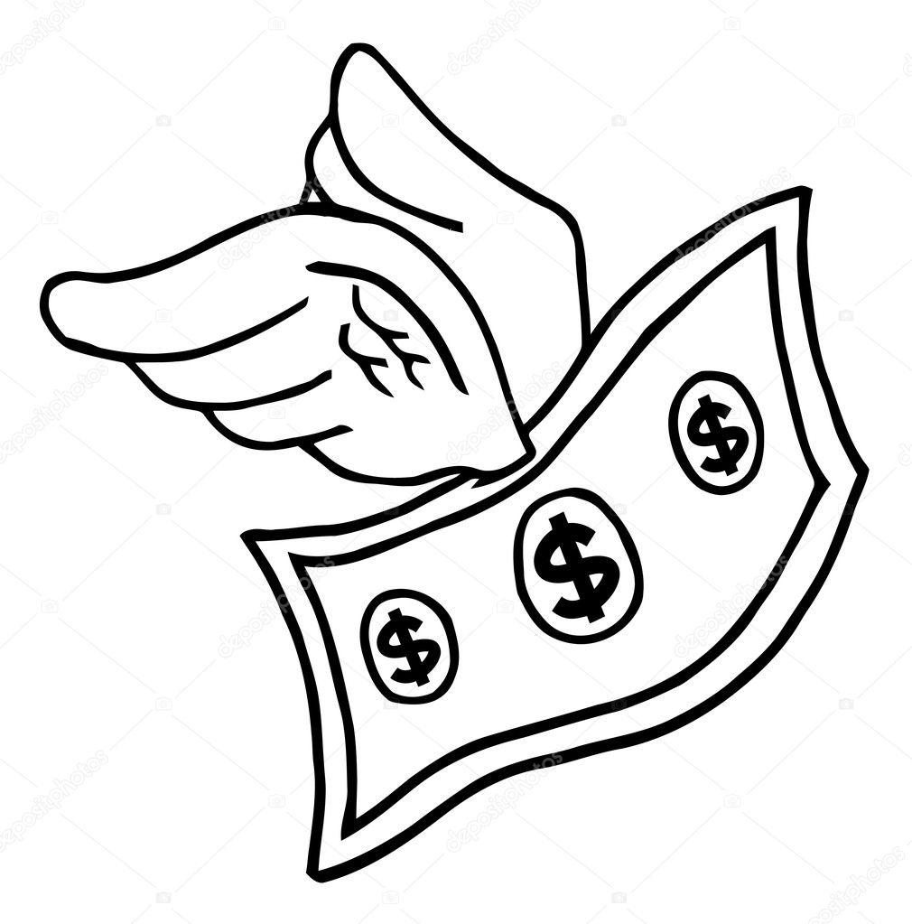 Imágenes Dolar Para Colorear Contorneado Dólar Volador