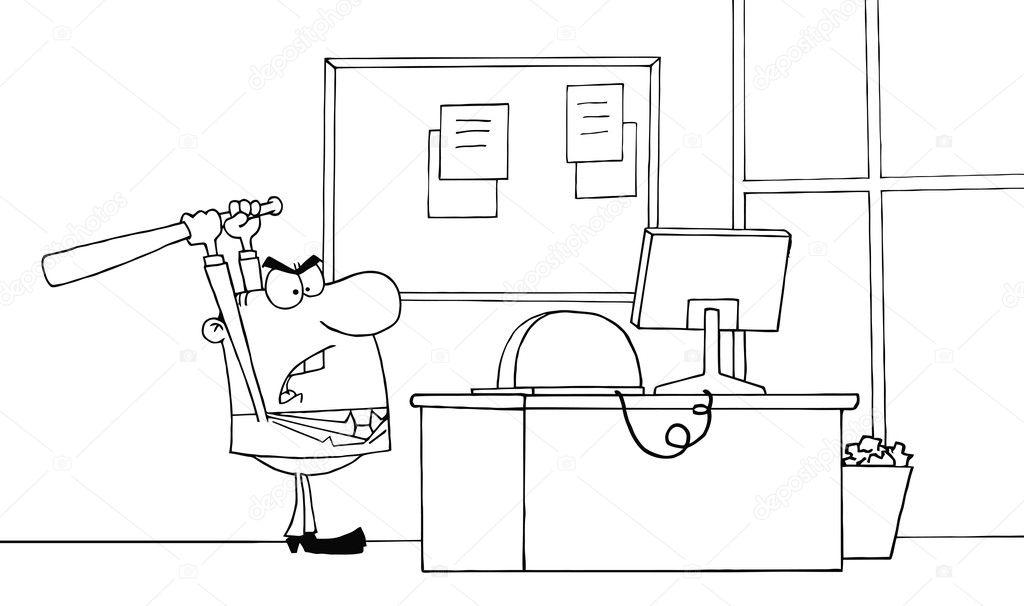 contorneado a empresario enojado con bate de béisbol en la oficina ...