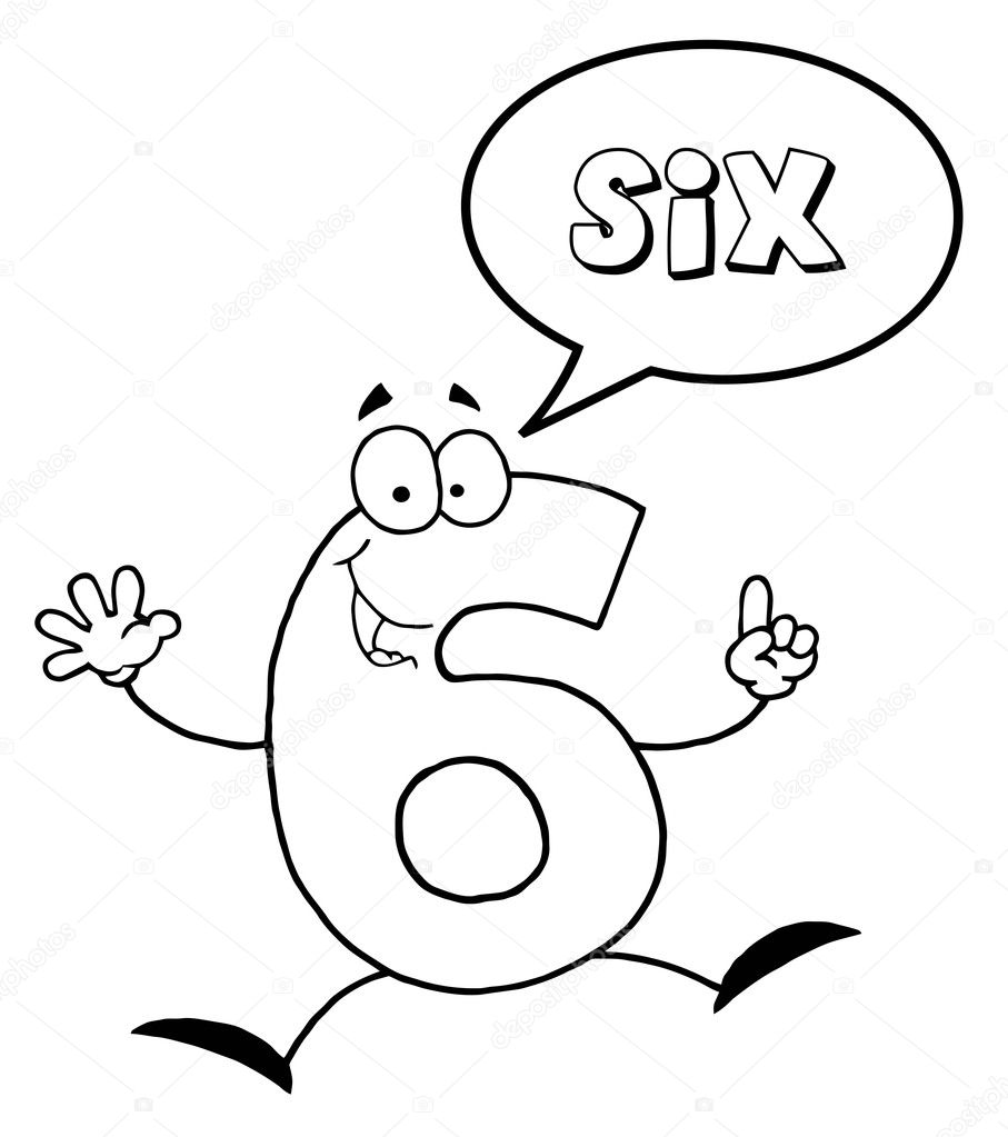 outlined friendly number 6 six guy with speech bubble u2014 stock
