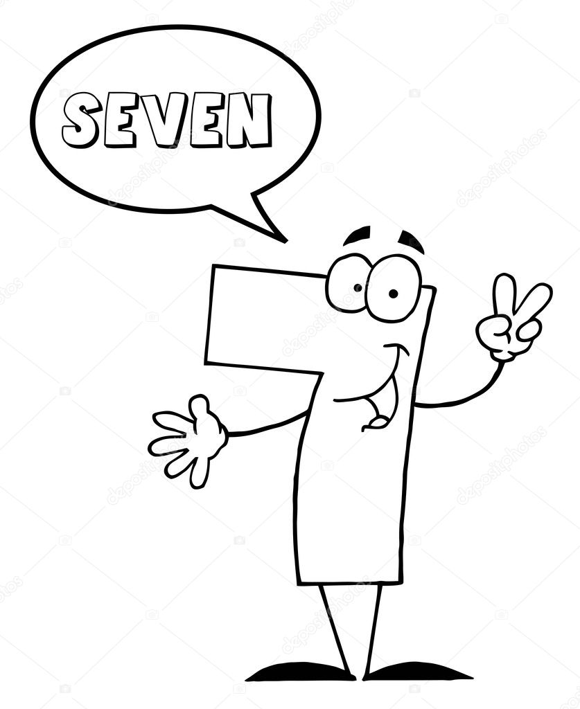 outlined friendly number 7 seven guy with speech bubble u2014 stock