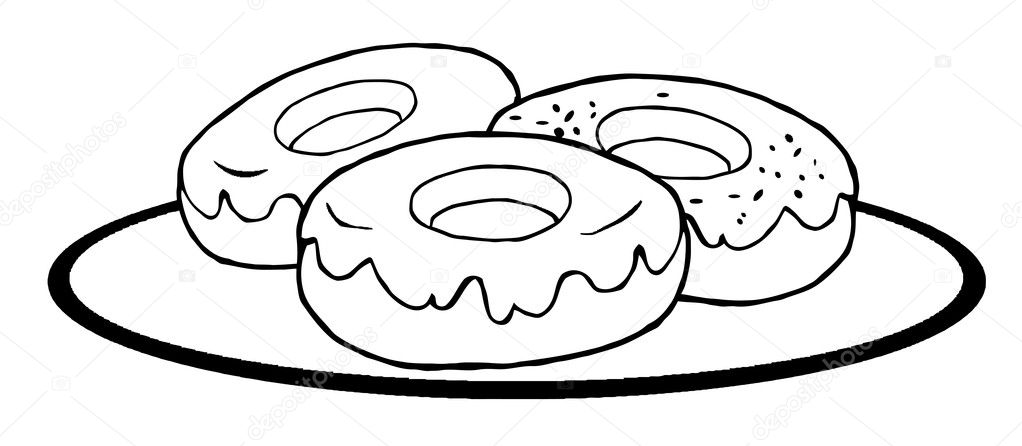 Imágenes Donuts Para Colorear Donas Contorneados Foto