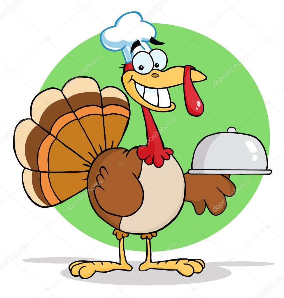 turkey cartoon chef serving a platter u2014 stock photo hittoon 4727510