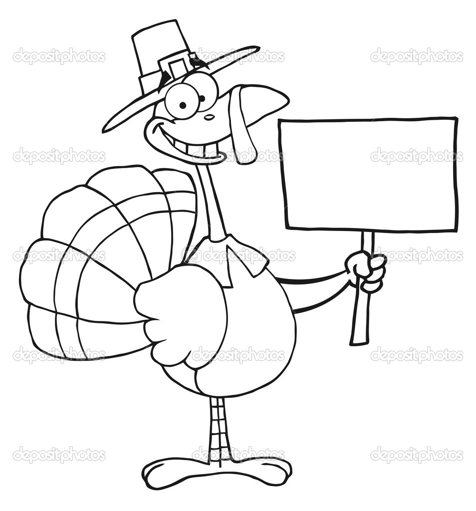 outlined turkey with pilgrim hat holding a blank sign u2014 stock