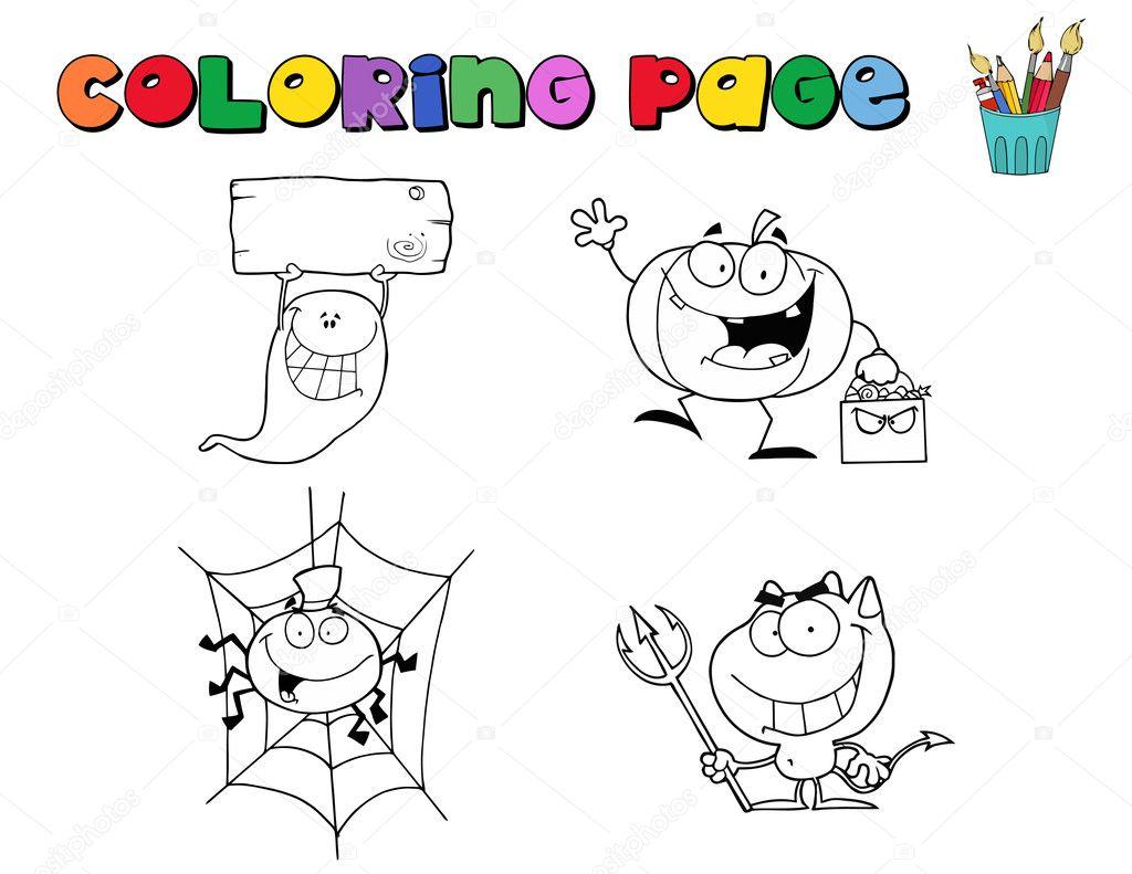 Kleurplaten Halloween Spinnen.Halloween Karakter Kleurplaten Pagina Contouren Stockfoto