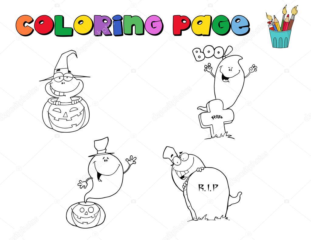 collage de carácter halloween colorear página contornos — Fotos de ...