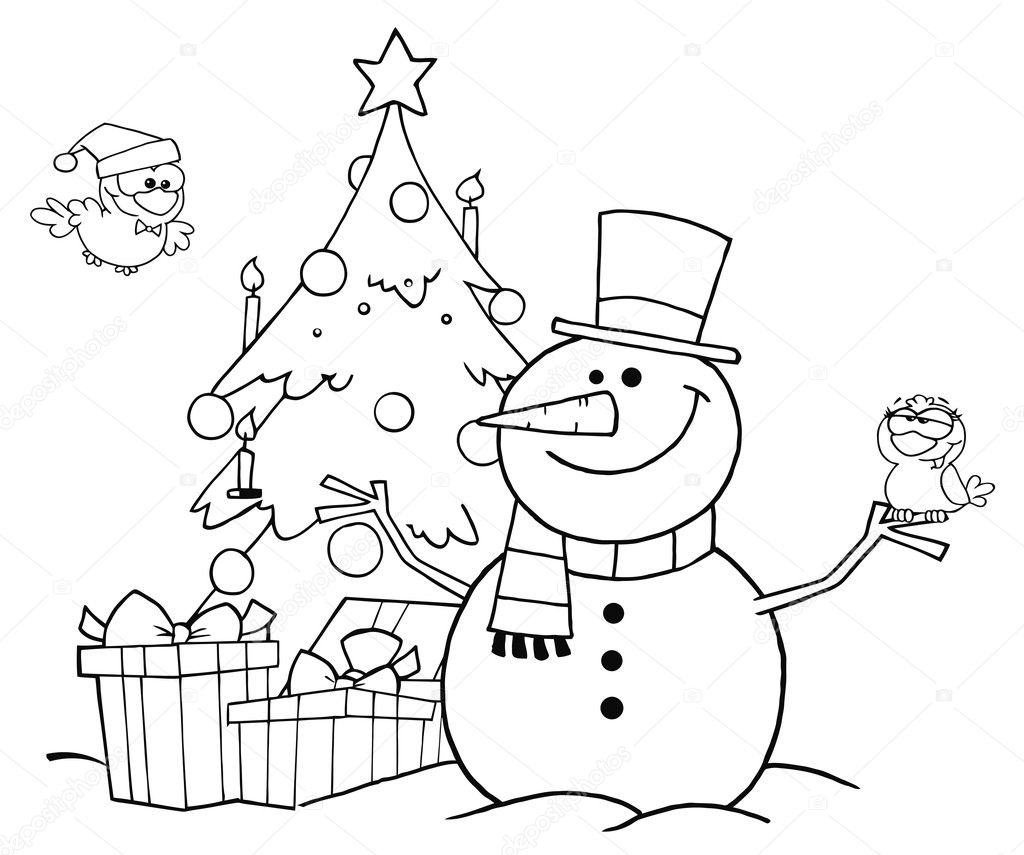 Outlined Friendly Snowman With A Cute Birds
