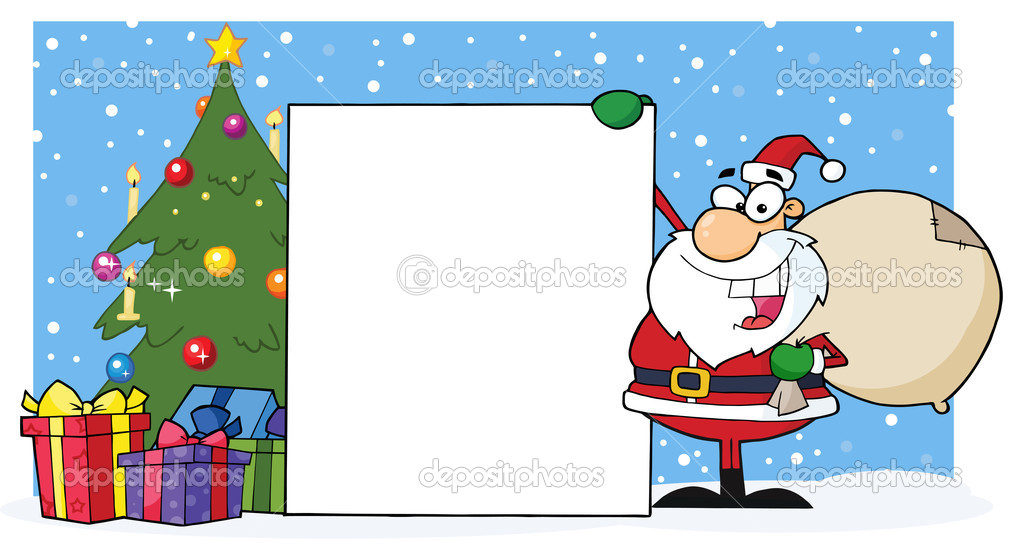 Santa With A Christmas Tree And Blan Sign Over Snow