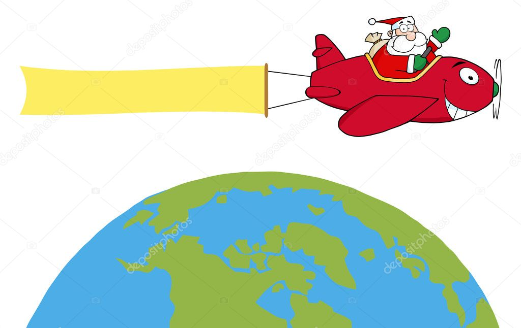 Happy Santa Flying A Plane Banner Over The Globe