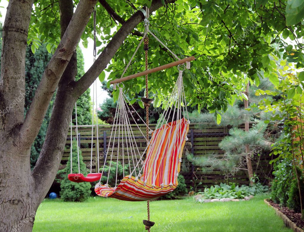 Color Hammock And Red Swing Hanging On The Tree U2014 Photo By Tkemot