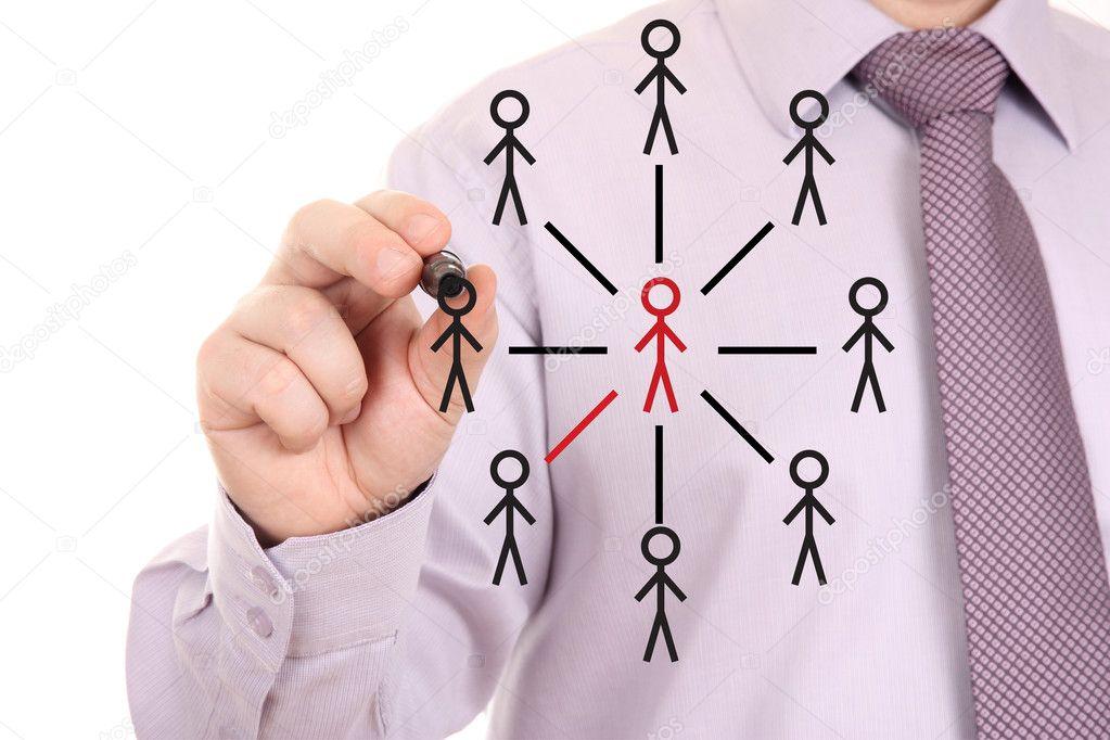 Businessman drawing social network