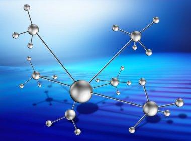 Molecular lattice on art background