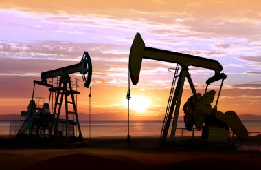 нефтяные насосы на закате