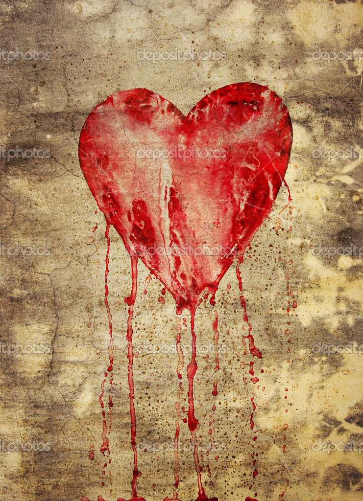 Broken and bleeding heart on the wall