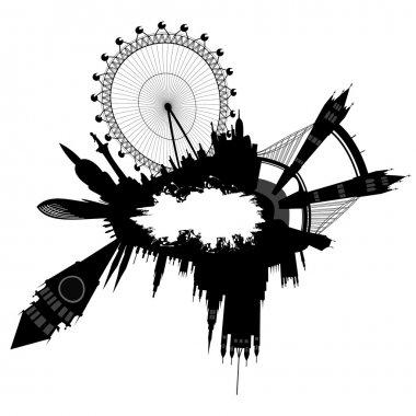London skyline in grunge style - vector