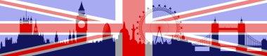 London skylinewith flag - vector