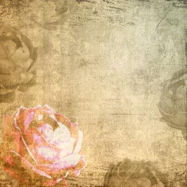 Romance grunge background with rose