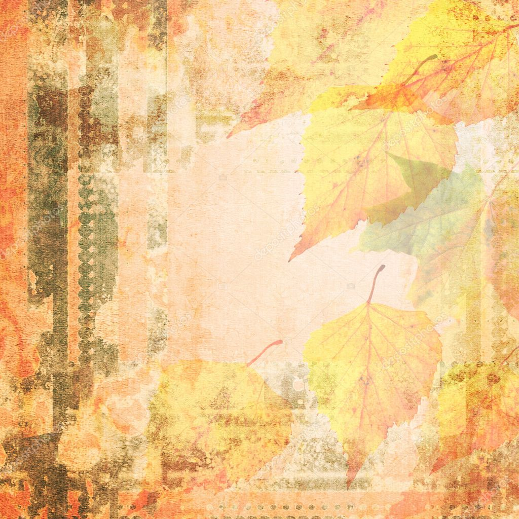 Grunge floral background with autumn leaves, space for text or image