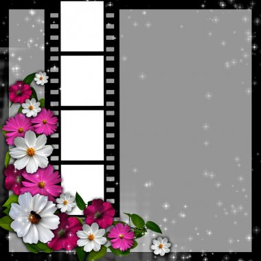 Page layout photo album with flowers and filmstrip
