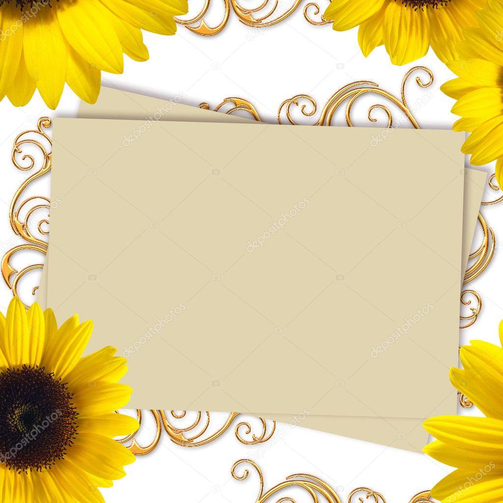 Biglietti Matrimonio Girasoli : Biglietto di auguri con mazzo girasoli — foto stock o