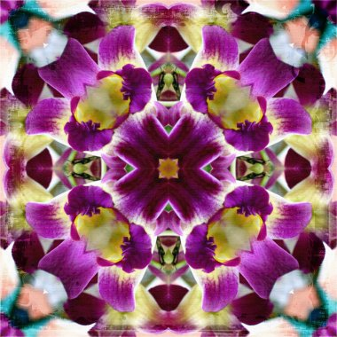 Abstract background, kaleidoscope of flowers