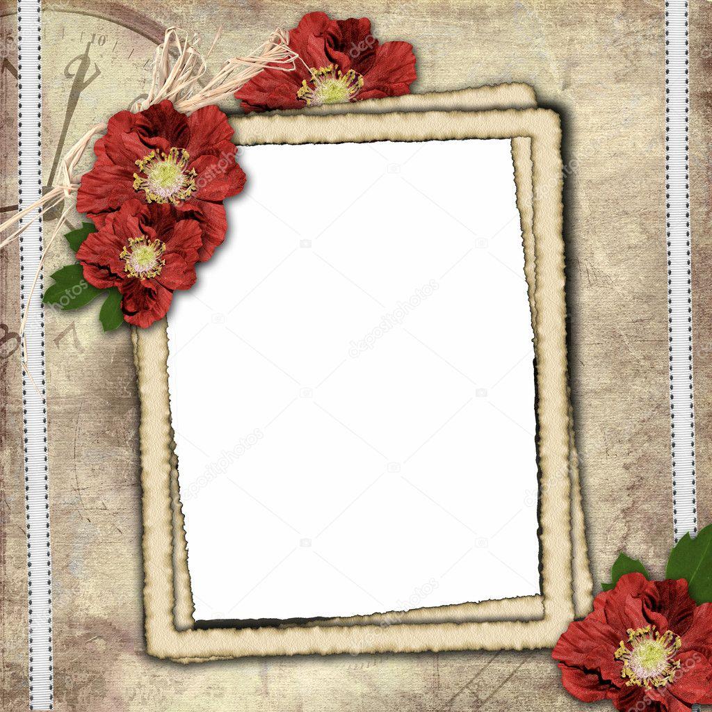 Fondo vintage con marco para foto y flor de composici n - Composicion marcos pared ...