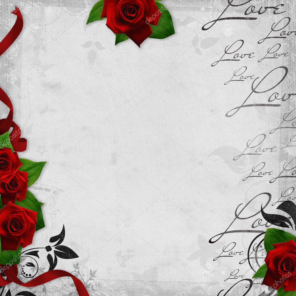Romantic vintage background with red roses and hearts (1 of set