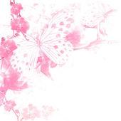Fotografie Schmetterlinge und Blumen rosa Hintergrund