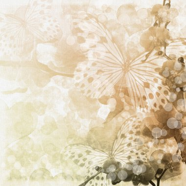 Butterflies and orchids flowers beige background ( 1 of set) stock vector
