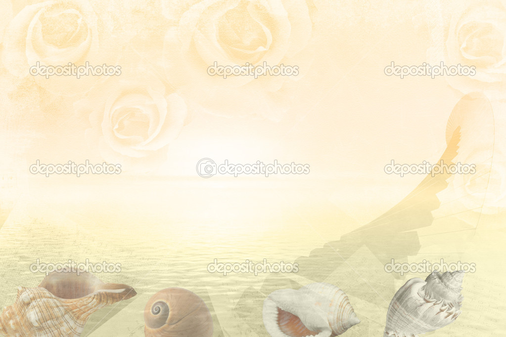 Romantic collage piano keyboard, roses, shall and water landscap
