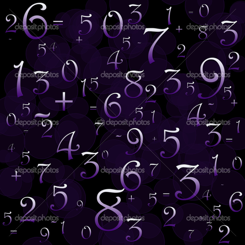 Maths numbers and signs on violet background