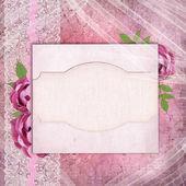 karta pro blahopřání nebo pozvání s růžovými růžemi