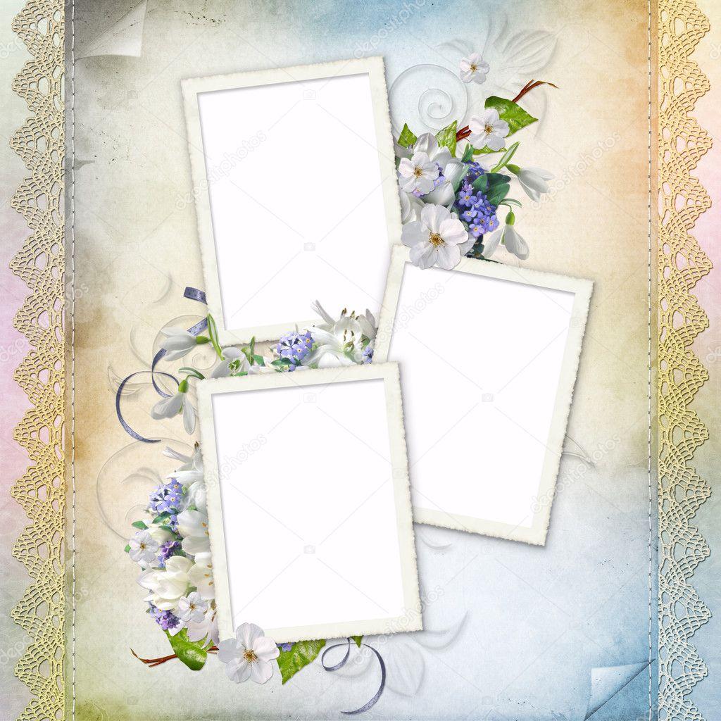 hermoso marco para tres fotos — Fotos de Stock © o_april #5129546