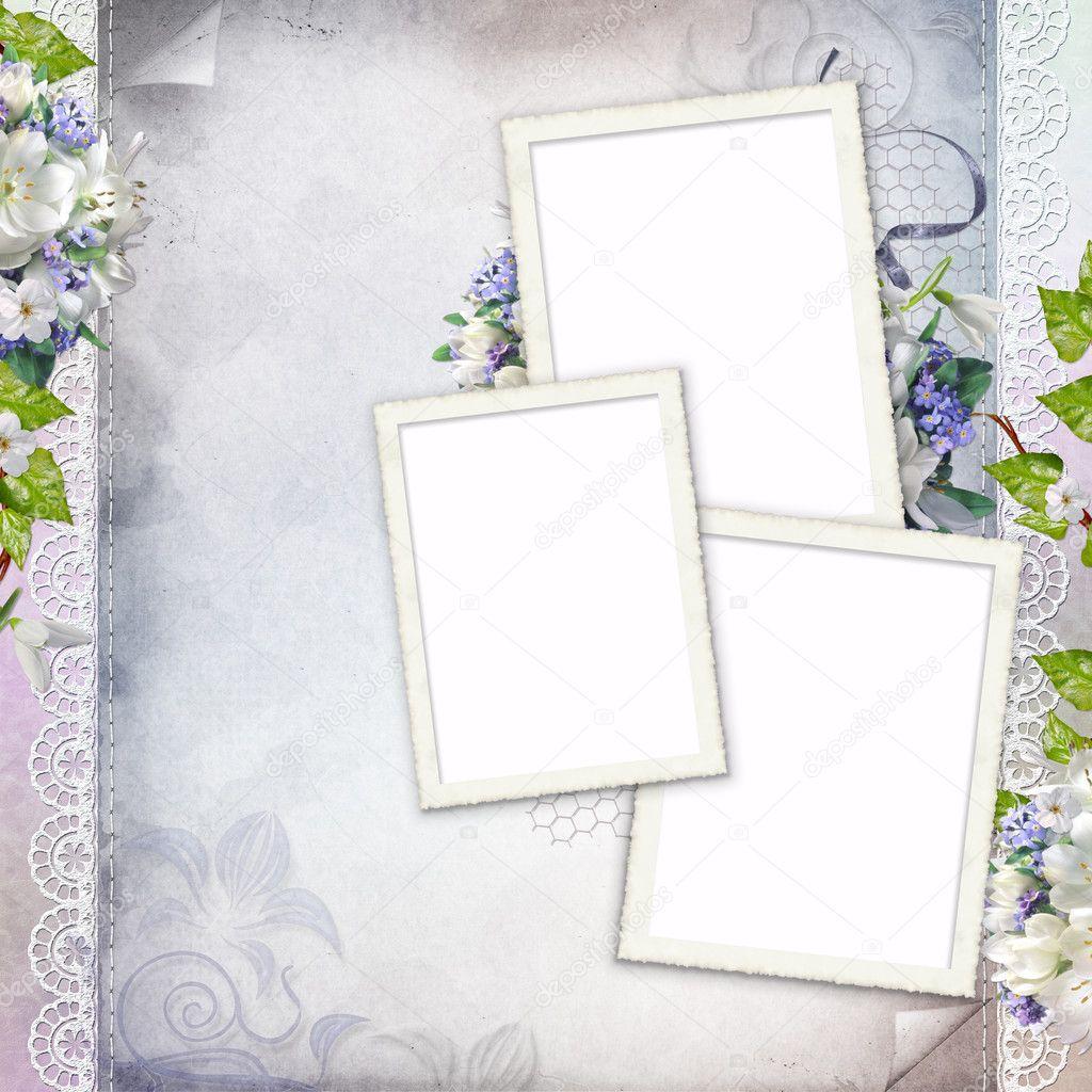 hermoso marco para tres fotos — Fotos de Stock © o_april #5129550