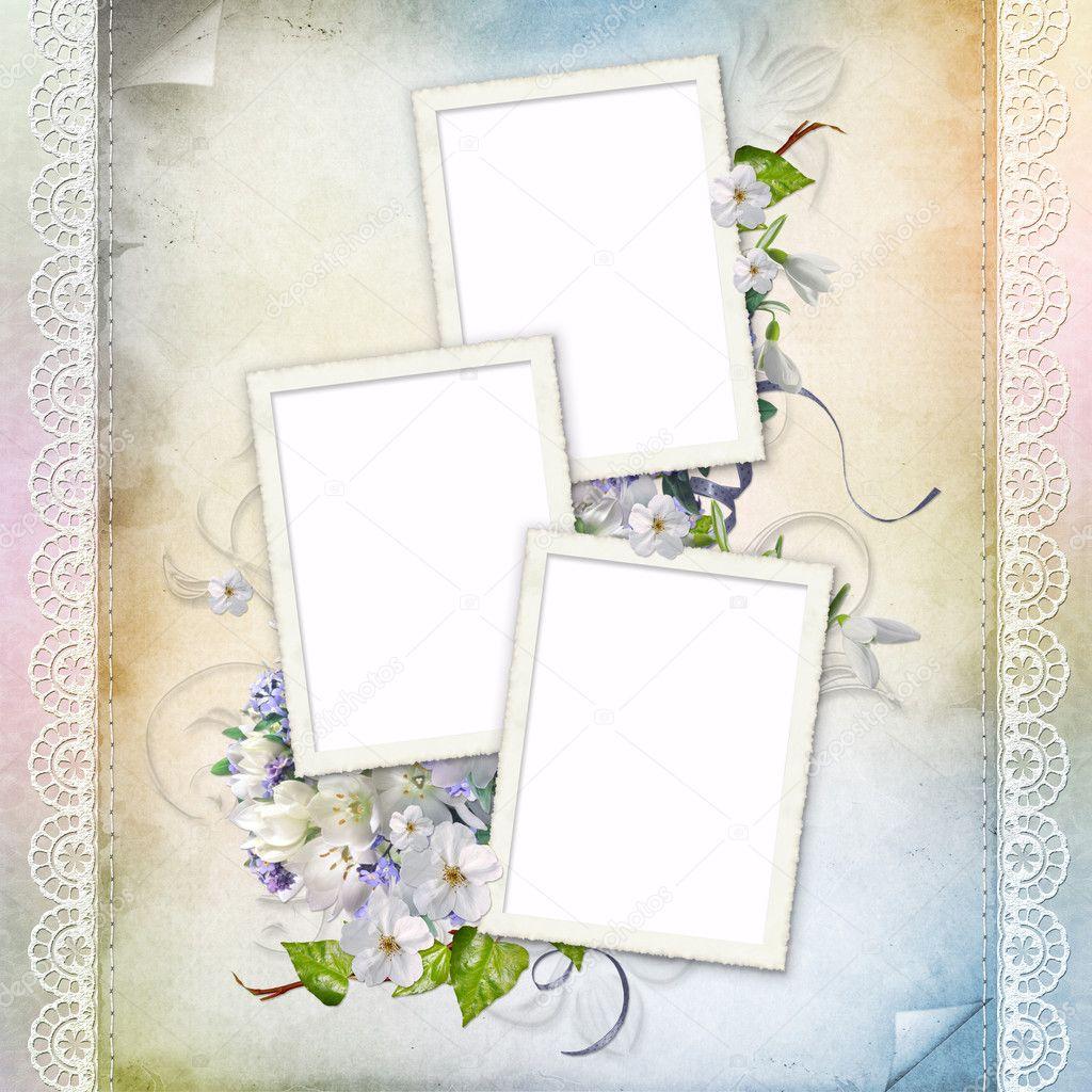 hermoso marco para tres fotos — Foto de stock © o_april #5129555