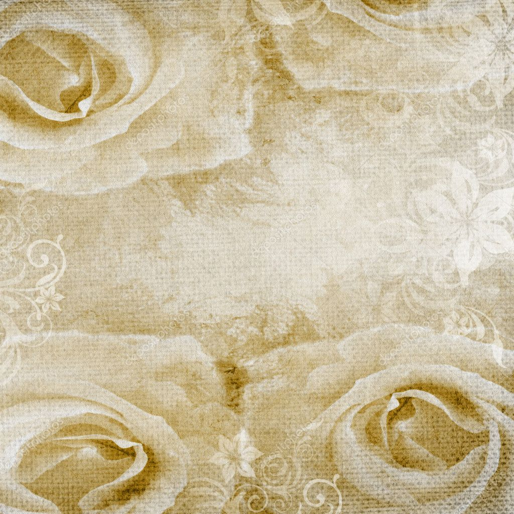 Grunge romantic background with beige roses