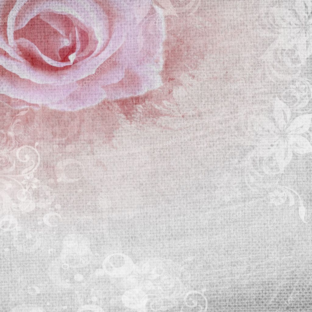 Grunge romantic background with rose