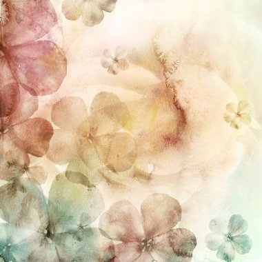 Watercolor background with many flowers stock vector