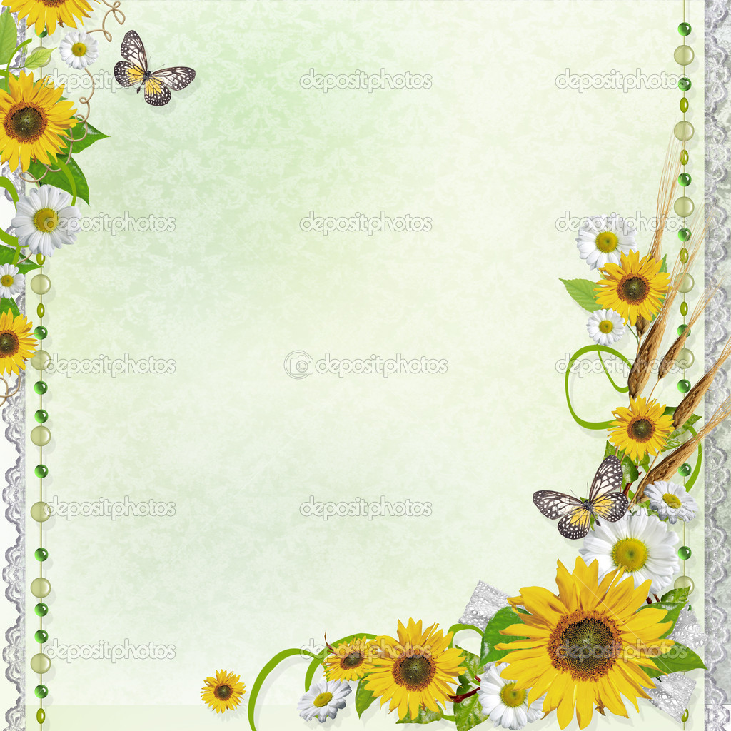 Summer background with sunflowers (1 of set)