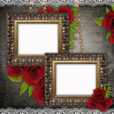 Bronzed vintage frames on old grunge background (1 of set)