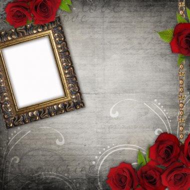 Bronzed vintage frame on old grunge background (1 of set)